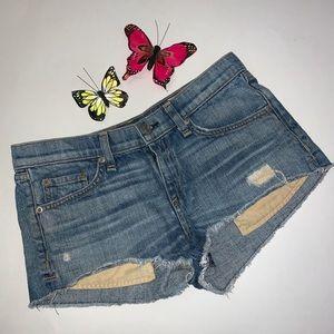 Rag & Bone Blue Distressed Denim Shorts Sz 25